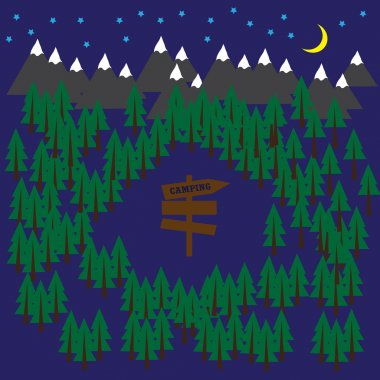 Camping vector background with forest and mountains