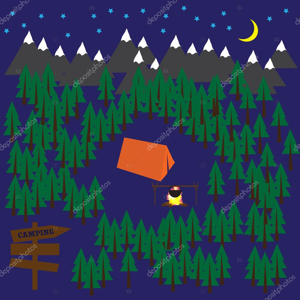 Camping vector background with forest, mountains, tent and bonfire