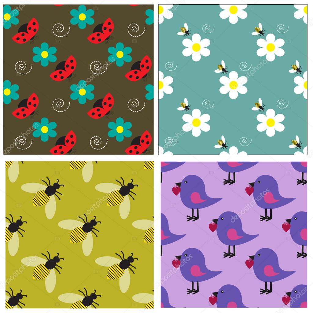 Seamless pattern collection with bees, ladybugs, birds and flowers