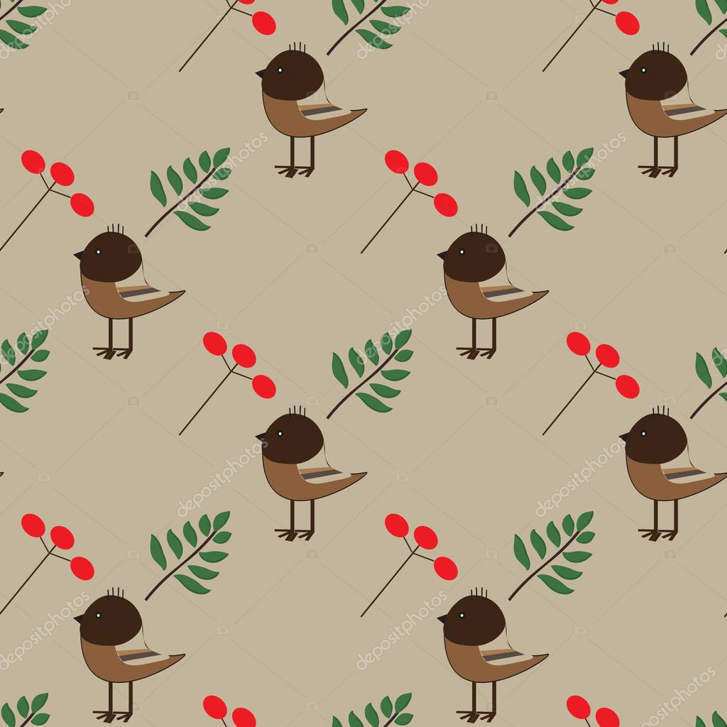 Seamless pattern with birds, branches and berries