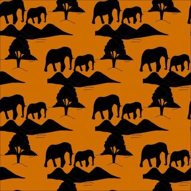Seamless pattern with african evning savanna
