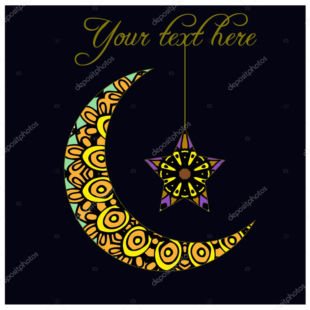 Greeting Card With Crescent Moon A Symbol Of Islam Stock Vector
