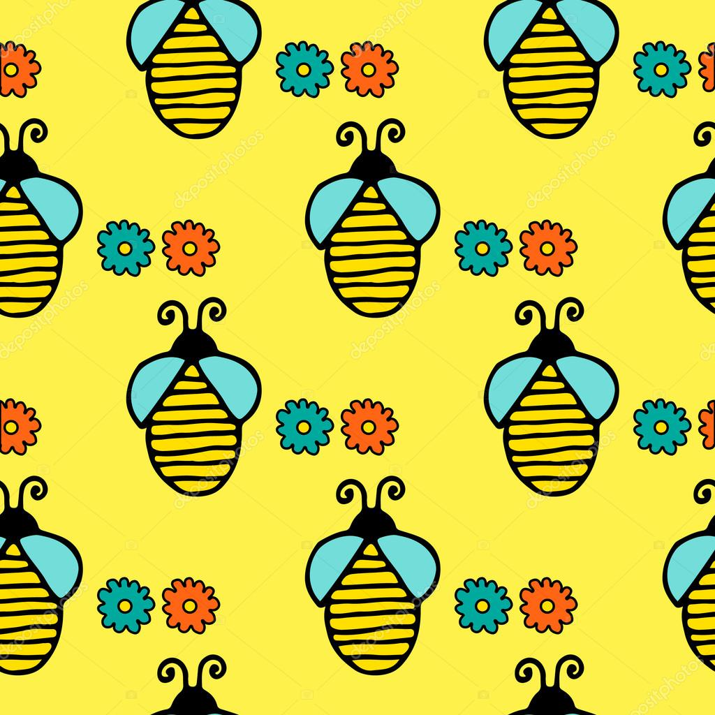 Seamless pattern with hand drawn bees