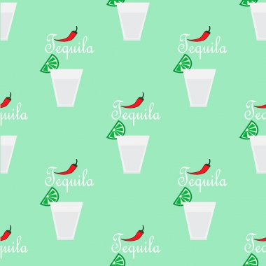 Seamless pattern with tequila drinks.