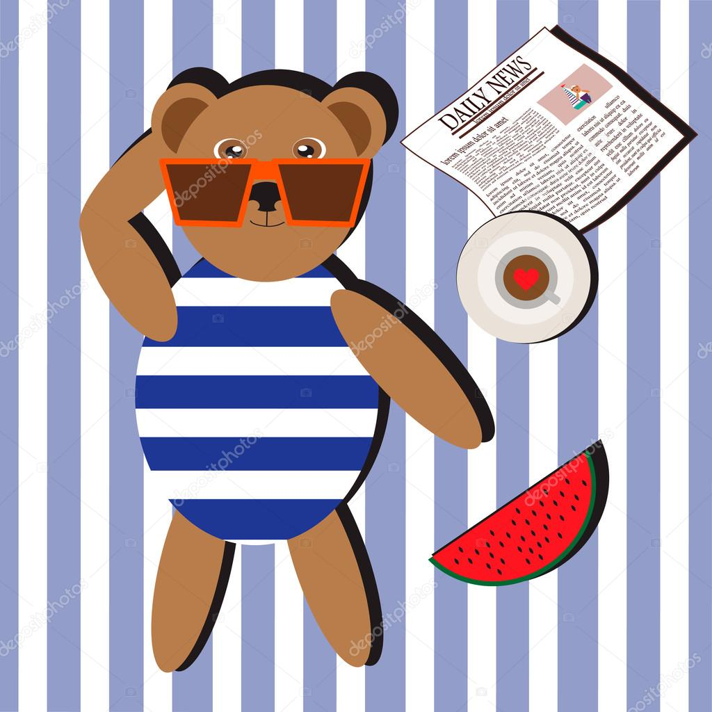 Illustration with bear in swimsuit and glasses