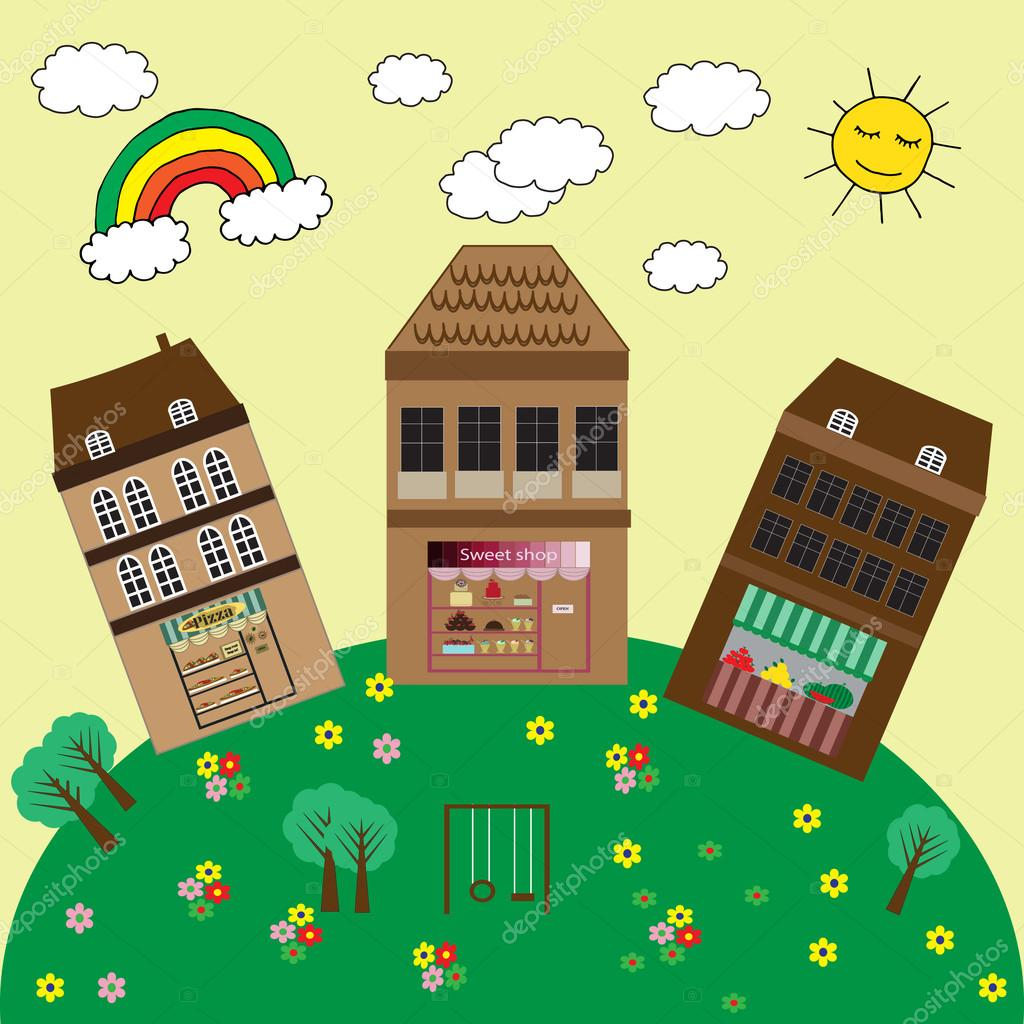 Townhouses, shopping malls and children's playground