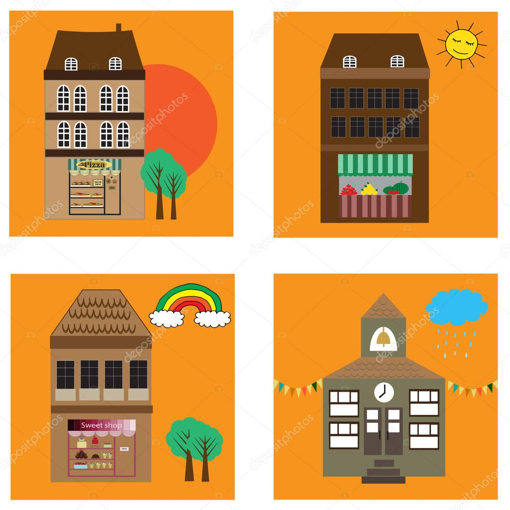 Four cartoon vector buildings with shopping malls and school