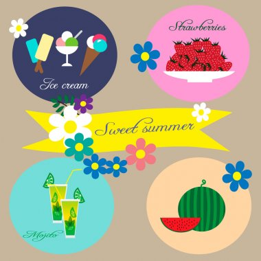 Illustration with ice creams, strawberries, coctail Mojito and watermelon