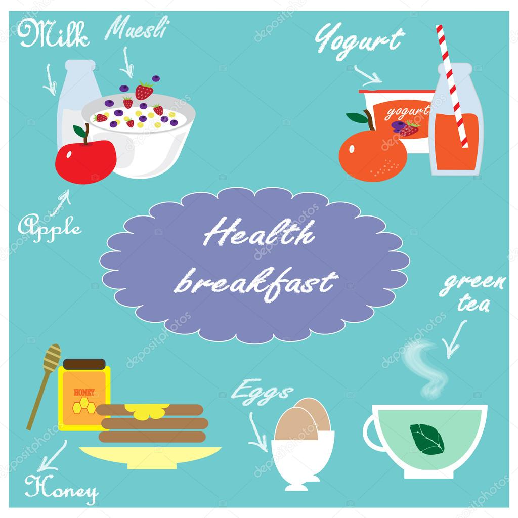 Illustration with health food for breakfast
