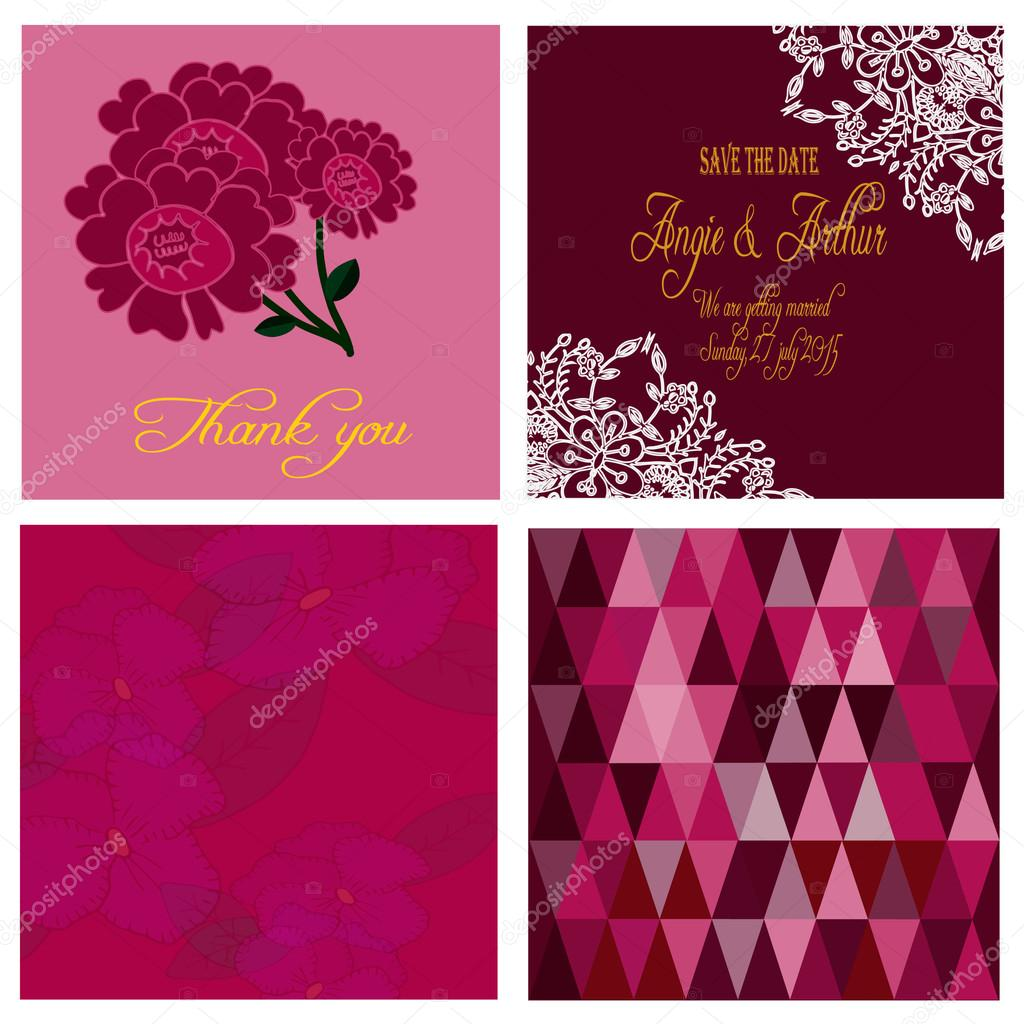 Cards collection in marsala pantone