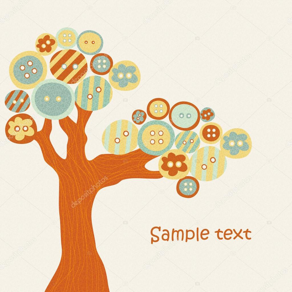 Abstract tree with multi-colored buttons