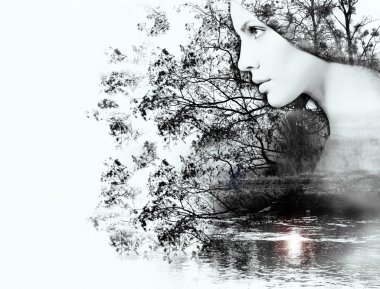 Double exposure of woman and beauty of nature at the sunset on t