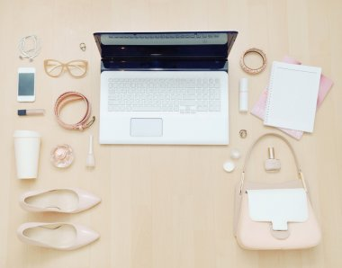 stylish casual set of computer and stuff for urban woman in soft