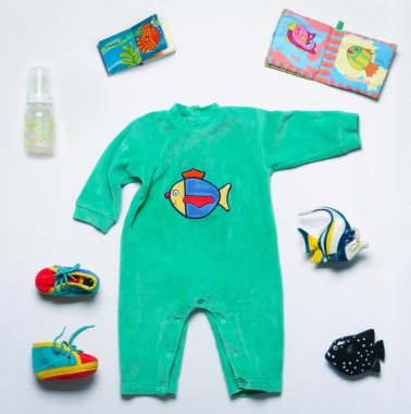 set of fashion trendy stuff and toys for newborn baby in underwa