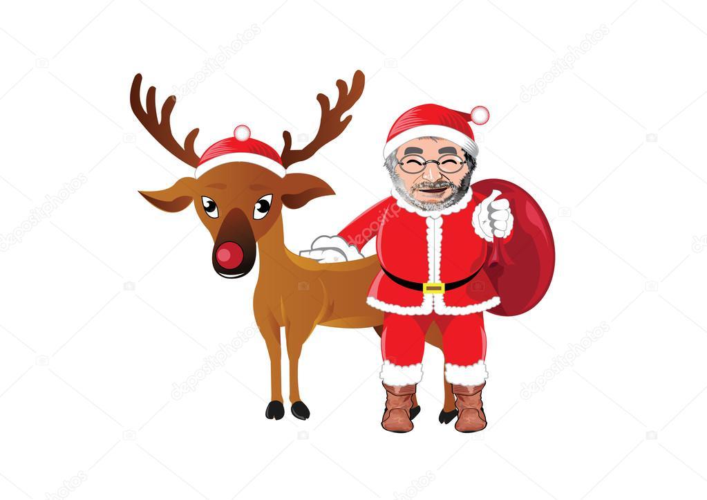 ベクトル クリスマス サンタ クロースと赤鼻のトナカイのイラスト