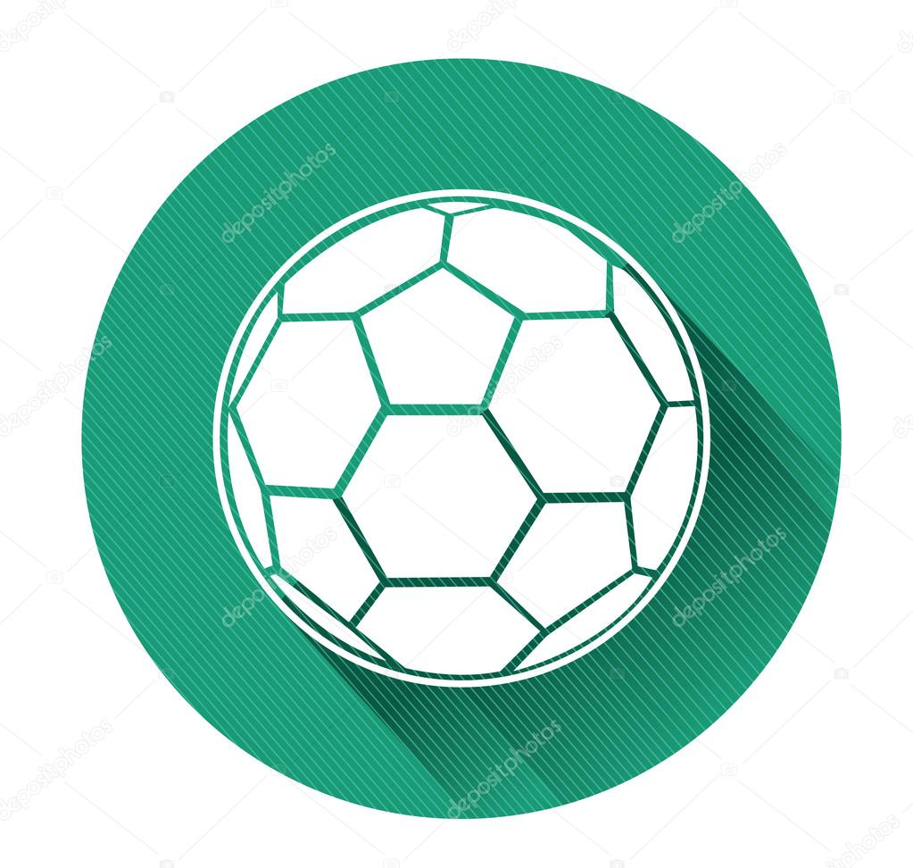 Modernes, flaches Design-Soccer-Kugel-Symbol mit langer Schatten ...