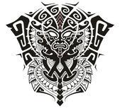 Maschera tribale di Dio con illustrazione di simbolo di alfa e lOmega