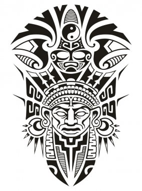 Ancient Tribal Mask Vector illustration