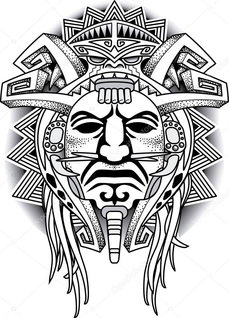 Warrior Tribal Mask Vector illustration