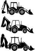 Set of different silhouettes backhoe loaders isolated on white background. Heavy construction and mining machines. Vector illustration.