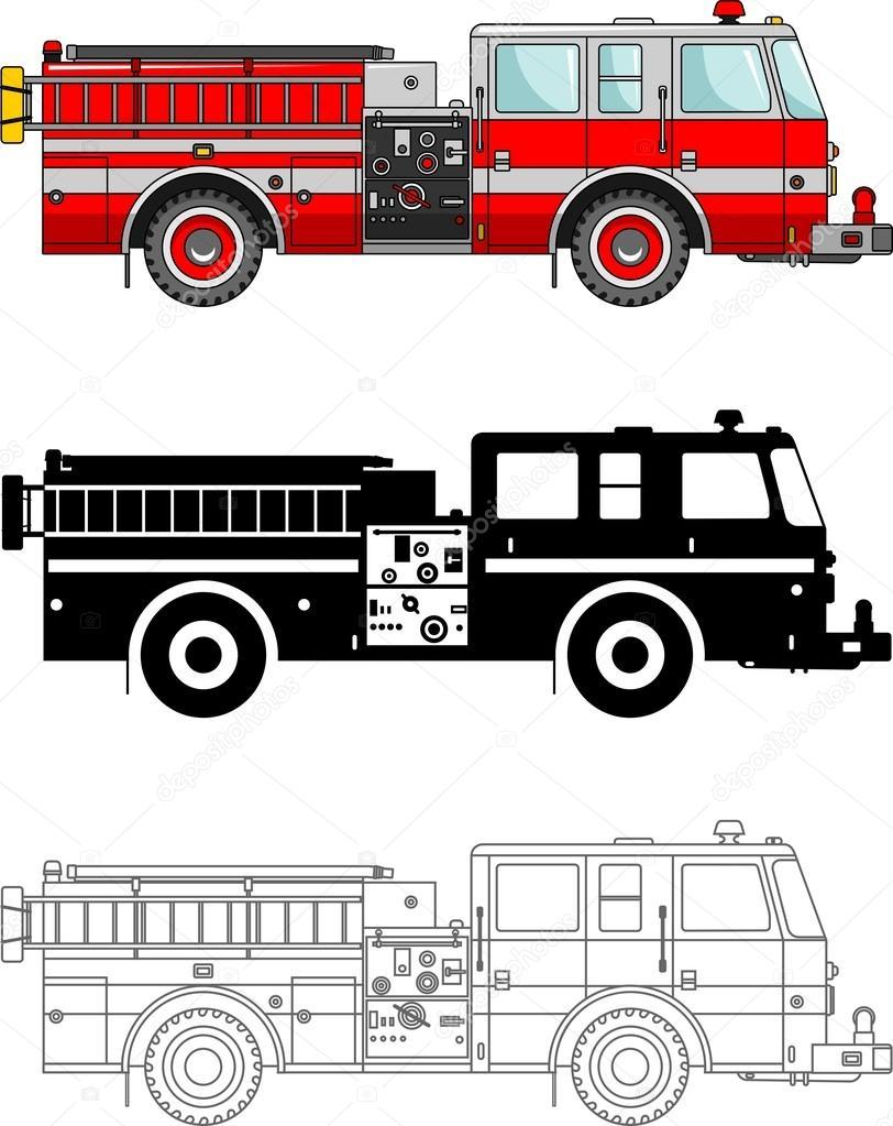 Camiones de bomberos tipo diferentes aislados sobre fondo blanco en ...