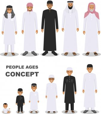 Arab people generations at different ages isolated on white background in flat style. Arab man aging: baby, child, teenager, young, adult, old people. Vector illustration.