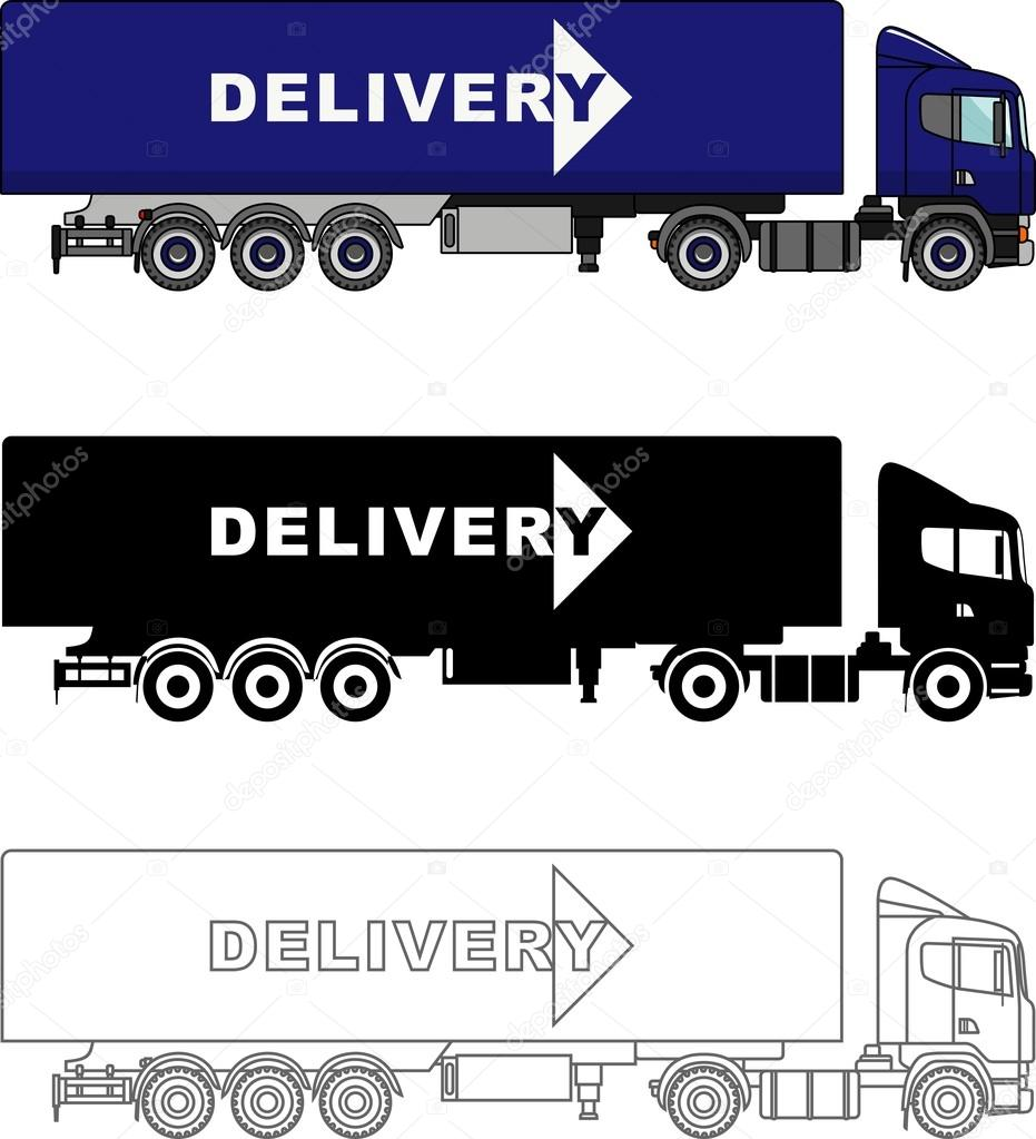 Different kind delivery trucks isolated on white background in flat style: colored, black silhouette and contour. Vector illustration.