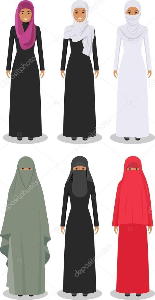 Satz von verschiedenen stehen arabische Frauen in der traditionellen ...