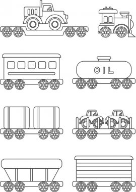 Coloring pages. Set of different silhouettes children toys railway transportation flat linear vector icons isolated on white background. Vector illustration.