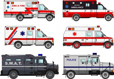 Set of different fire truck, police and ambulance cars in flat style isolated on white background. Differences silhouette illustration of special machines. Vector illustration.