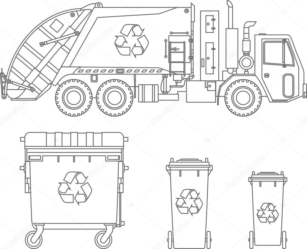 Coloring Pages Set Of Garbage Truck And Different Types Of