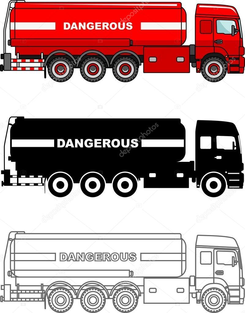 Camiones cisterna tipo diferentes llevan químicas, radioactivas ...