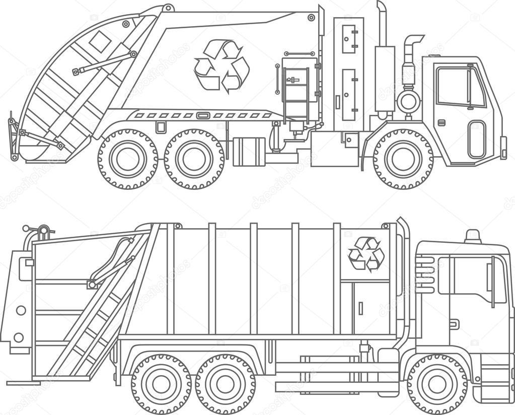 Dibujos para colorear. Conjunto de diferentes camiones de basura ...
