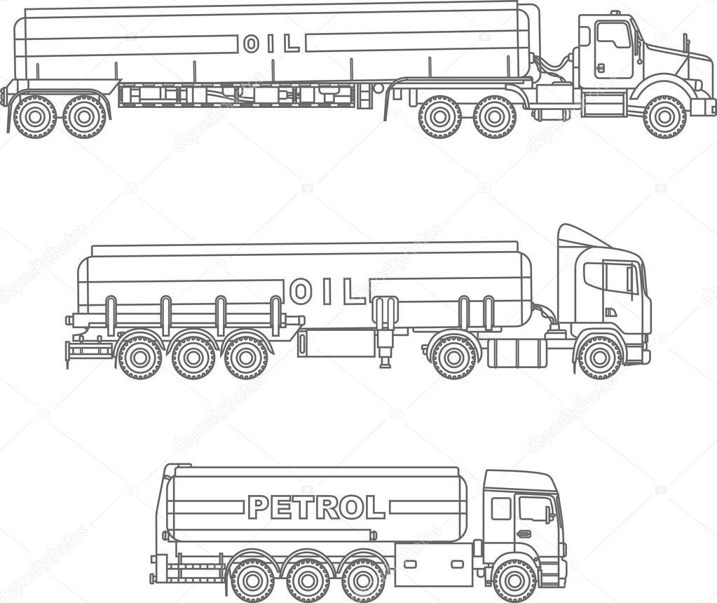 Malvorlagen Satz Von Verschiedenen Benzin Lkw Flach Lineare Symbole