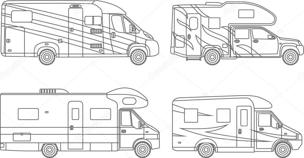 Dibujos para colorear. Juego de coche de diferentes siluetas, viajes ...