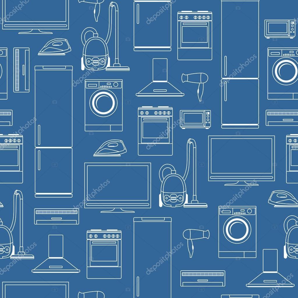Appliance Diagram Background Wiring Portal For Household Appliances Seamless Stock Vector Yustus Rh Depositphotos Com Kitchen