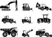 Fotografie Set of heavy construction machines. Vector illustration