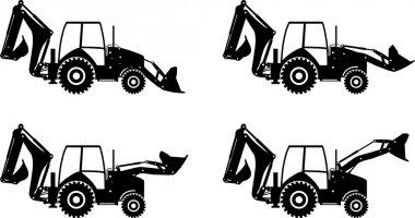 Backhoe loaders. Heavy construction machines. Vector illustration