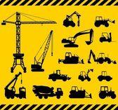 Fényképek Készlet nehéz építőipari gépek ikonok. Vektoros illusztráció