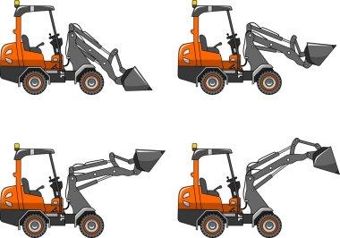 Skid steer loaders. Heavy construction machines. Vector illustration