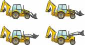 Backhoe loaders. Heavy construction machines. Vector illustration