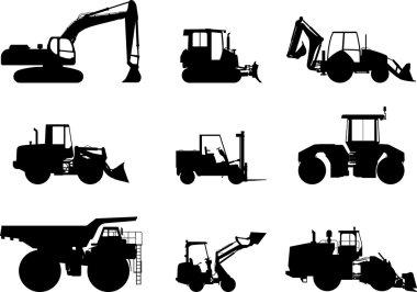Set of heavy construction machines. Vector illustration