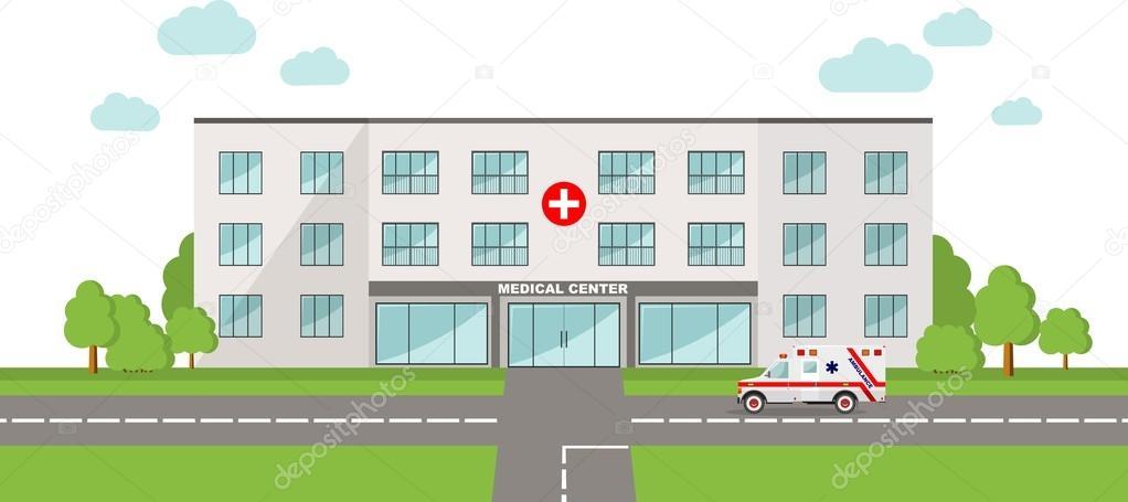 concepto médico. Fondo panorámico con coche de edificio y ambulancia ...