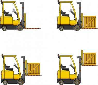 Forklifts. Heavy construction machines.