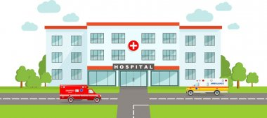 Medical concept. Panoramic background with hospital building and two ambulance cars in flat style.