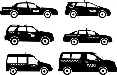 Set of different silhouettes taxi cars. Vector illustration