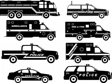 Set of different silhouettes fire truck, police and ambulance cars. Vector illustration.
