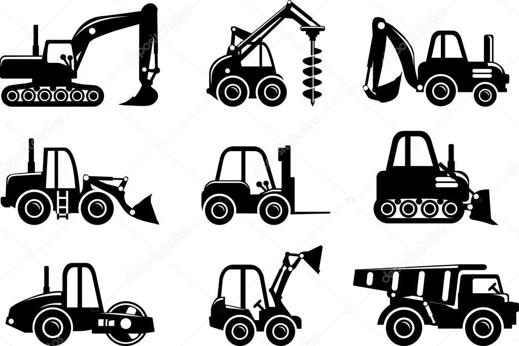 Heavy Equipment Silhouette : Conjunto silueta juguetes pesadas máquinas de construcción