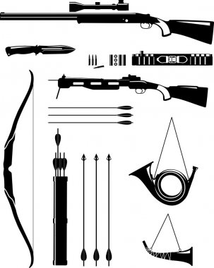 Set of silhouette hunting weapons in flat style.