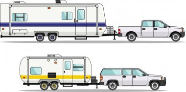 Modern caravan. Detailed illustration of car and travel trailers in flat style stock vector